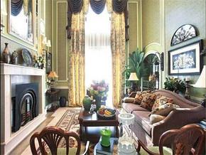 混搭风格别墅客厅窗帘图片