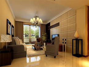 现代简约风格15平米客厅电视背景墙效果图