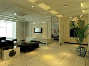 现代风格15平米客厅电视背景墙效果图