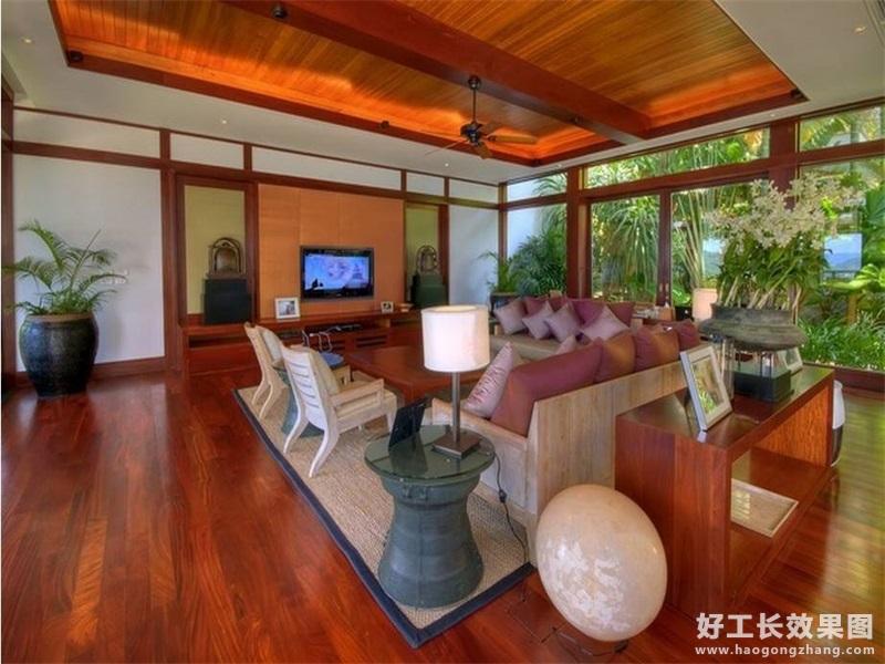 现代风格海景别墅客厅电视背景墙装修图片