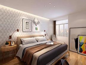 日式风格卧室床头背景墙装修效果图