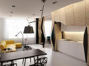 日式风格客厅餐厅吊顶吊灯装修效果图
