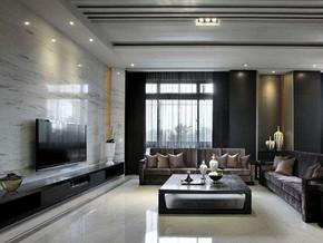 现代日式风格客厅电视背景墙装修效果图