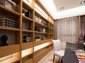日式风格书房书柜装修效果图