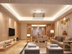 日式风格客厅吊灯吊顶装修效果图