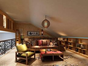 中式风格客厅沙发背景墙装修效果图