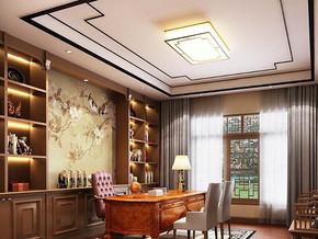 中式风格书房吊顶吊灯装修效果图