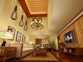 日式风格客厅吊顶吊灯装修效果图