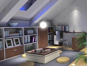 现代简约风格书房装修设计效果图
