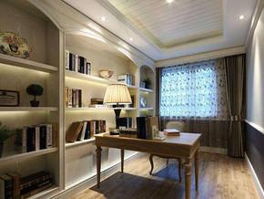 简约美式风格书房装修设计效果图