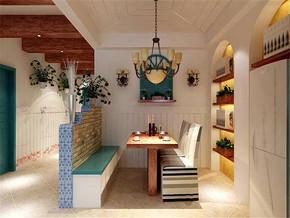 地中海风格二居室餐厅吊顶装修效果图