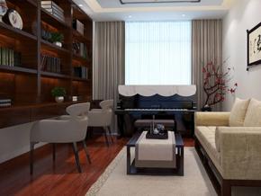 新中式书房沙发背景墙装修效果图