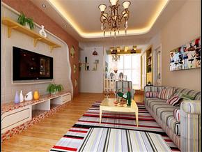 白色砖砌地中海电视背景墙装修图