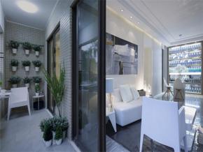 冷调简约风格二居室阳台装修实景图