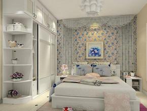 韩式田园风格卧室背景墙装修效果图