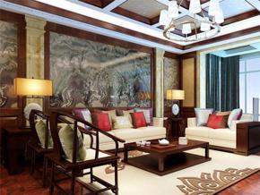 中式风格五居室客厅背景墙实木家居装修设计