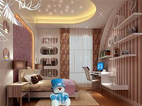 110平简欧风格儿童房背景墙装修效果图