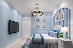 地中海卧室墙蓝面风格装修图片