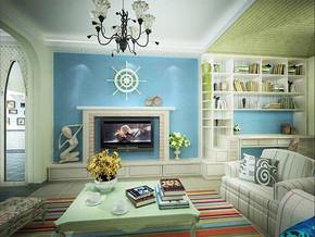 地中海电视背景墙装修设计图