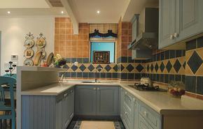 地中海风格小户型厨房整体橱柜装修效果图