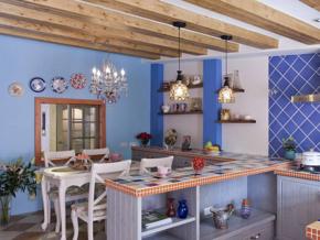 时尚厨房蓝色墙砖布置