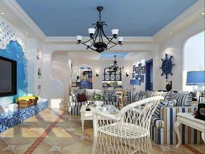 地中海风格客厅吊顶装修设计效果图