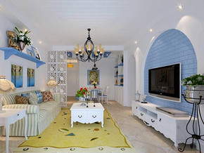 地中海风格客厅背景墙装修设计效果图