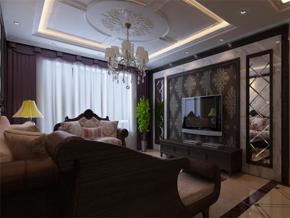 新古典风格三室一厅电视背景墙设计