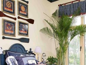 蓝色系地中海风卧室装修图片