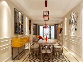 新中式风格餐厅墙面装饰效果图