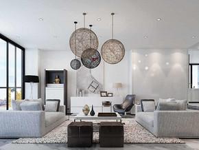 简约日式风格客厅吊灯装修效果图