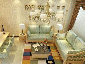 田园风格客厅壁纸装修效果图