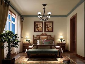 美式风格卧室吊灯装修效果图