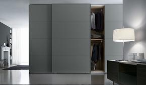 现代灰色气质推拉门衣柜装修效果图