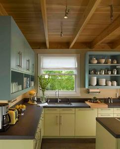 简约田园风格厨房橱柜收纳柜装修效果图