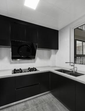 高冷灰色系三居厨房橱柜装修效果图