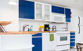 开放式厨房蓝色橱柜装修效果图