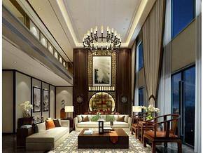 新中式风格客厅中空吊顶装修效果图