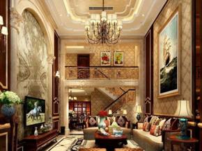 别墅欧式复古风格客厅装修效果图