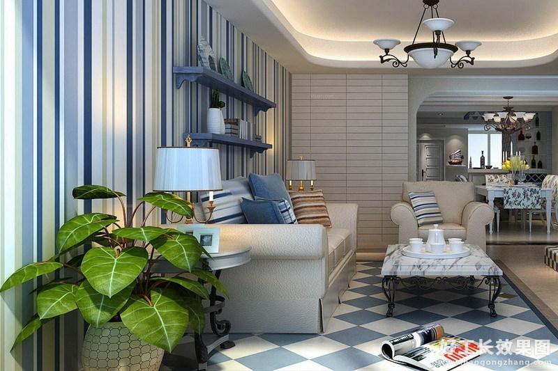 两室一厅样板房装修效果图