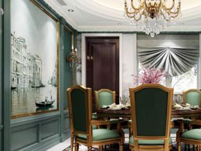 典雅新古典主义风格别墅餐厅设计装修图