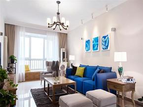 蓝色韩式一室装修效果图