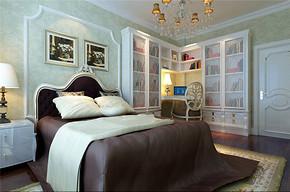 欧式风格三居室卧室背景墙效果图
