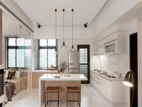 白色现代三室厨房装修效果图